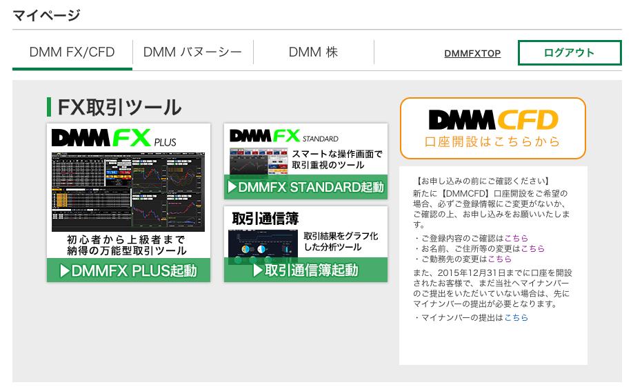 DMMFXのログインページ